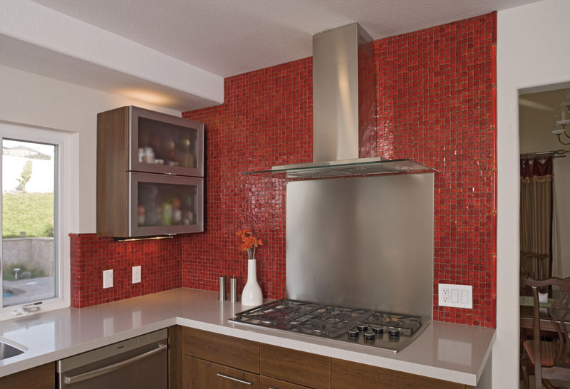 Kitchen Backsplash Red glass tile | charles tiles inc. | stockton nj