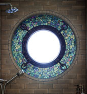 glass tile shower window