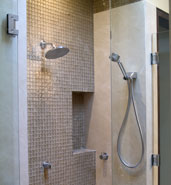 stand up glass tile shower