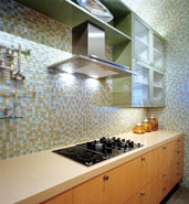 glass tile kitcken walls