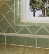green kitchen glass tile