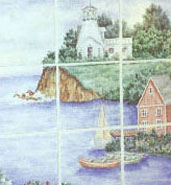 water with boats mural