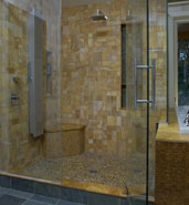 stand up stone tile shower