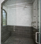stone tile stand up shower